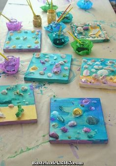 Seashell collages by kids, using tacky glue and liquid watercolor. Seashell collages by kids, using tacky glue and liquid watercolor. Summer Crafts For Kids, Projects For Kids, Diy For Kids, Summer Crafts For Preschoolers, Summer Camp Art, Summer Art Projects, Wood Projects, Preschool Crafts, Fun Crafts