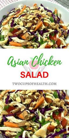 Asian Chicken Salad is a meal fit for dinner with chicken, a healthy and gorgeous assortment of vegetables all topped with a creamy peanut dressing. #salad #asiansalad #asianfood #chickensalad