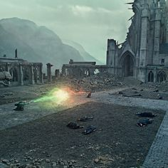 """For the final battle and destruction of Hogwarts in """"Harry Potter and the Deathly Hallows - Part 2,"""" every piece of rubble was manufactured individually out of soft polystyrene. To accommodate the schedules of the actors involved, the set had to be destroyed and rebuilt multiple times. Each time, every single piece of debris littering the castle had to be removed so that the set could be restored to its original setup. #HarryPotter"""