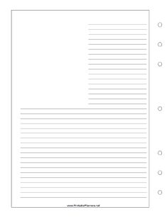 This journal page with room for a photo or drawing in the upper left corner goes on the left-hand side of your executive organizer sized datebook. The lines wrap around a blank area so you can add a photo, clippings, sketches, or other memorabilia. Free to download and print