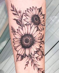 Sunflower Tattoo Sleeve, Sunflower Tattoo Shoulder, Sunflower Tattoo Small, Sunflower Tattoos, Sunflower Tattoo Design, Sunflower Tattoo Meaning, Sunflower Mandala Tattoo, Daisy Tattoo Designs, Little Tattoos