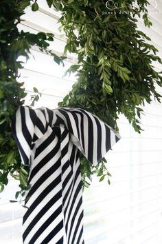 cut striped fabric on the bias to use as diagonal striped ribbon