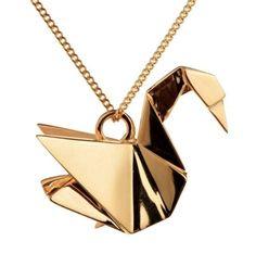 Gold Japanese Origami Swan Necklace Pendant for women – 1 Øak Cute Jewelry, Boho Jewelry, Vintage Jewelry, Jewelry Design, Jewellery, Jewelry Accessories, Mermaid Jewelry, Cartier Jewelry, Chanel Jewelry