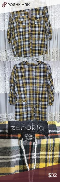 10f8ad517ac 💙Plaid Shirt XXXL New With Tags💙 NWT. Plaid Shirt XXXL New With Tags  Zenobia Women s Blouse Plaid Button Down Tab 3 4 Sleeve Women s plus size  ...