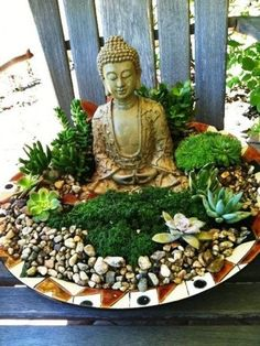 Large ceramic bowl with moss, succulents, and Buddha statue. Perfect as a garden accent. #ZenGarden
