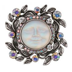 Milk Glass Moon Face with Ornate Rhinestone Metal Frame Hemp Jewelry, Jewelry Box, Jewellery, Fancy Buttons, Vintage Buttons, Luna Goddess, Sweet Dreams My Love, Button Art, Moonstone Jewelry