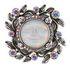 Crystal Dream Seaview Moon Pin/Enhancer (Antique Silvertone)