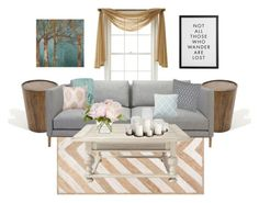"""""""Gold, Greg, and teal living room!"""" by sydneydreyer714 ❤ liked on Polyvore featuring interior, interiors, interior design, home, home decor, interior decorating, nuLOOM, Ellington, Royal Velvet and Home Decorators Collection"""