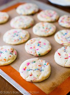 My absolute favorite recipe for soft-baked, chewy funfetti sugar cookies. There won't be a crumb left! @sallybakeblog