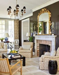 Lacquered brown walls in a Nashville home decorated by David Netto for Veranda Magazine