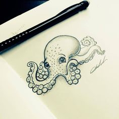 Octopus tattoo is a favorite marine life tattoo design for both women and men. Today, the octopus tattoo is a favorite decorative tattoo. Octopus Drawing, Octopus Art, Octopus Sketch, Squid Drawing, Baby Octopus, Octopus Tattoos, Mermaid Tattoos, Cute Octopus Tattoo, Octopus Tattoo Design