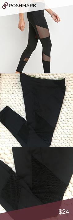 Black mesh insert yoga leggings Very cool and on trend black act of leggings from forever 21. Only worn a couple of times. I have tons of activewear so most of it has barely anywhere to it. I removed the tag from these but they are a size large. excellent condition. No, rips, stains or noticeable flaws. NO TRADES! Reasonable offers considered via the OFFER BUTTON. Bundle and submit an offer or to receive a personalized offer from me. The more you bundle, the more you save. Forever 21 Pants…