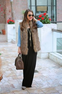 Black maxi, chambray shirt and fur vest