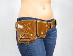 Hip Pack Lace Design Leather Utility Belt - Brown (Great Pocket Belt. A lot of storage. Large enough to store ANY phone on the market)