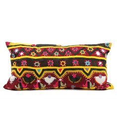 With vibrant hand embroidered fabric taken from vintage tribal skirts, this intricate lace-like cotton pillow is a warm splash of color to your living space. - * Vintage Fabric - * Polyfill Insert - *