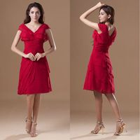 Short Chiffon New Arrival Prom Dresses 2014 Elegant Tiered Red Formal Dress For Prom Party V-Neck Pleats Women's Clothing Style