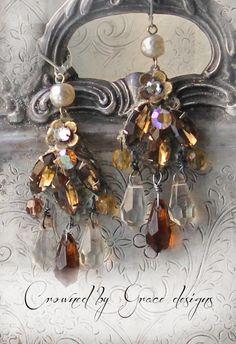 Autumn Splendor ~ vintage assemblage earrings topaz amber chandelier briolette drops miriam haskell crowned by grace