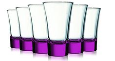 Pink Evase Cordial Glasses With Beautiful Colored Accent- 2 Oz. Set Of 6. Additional Vibrant Colors Available, 2015 Amazon Top Rated Cordial & Liqueur Glasses #Kitchen