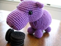 Free Crochet Pattern: Hungry Hippo...what a cutie, love him in purple!