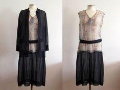 1920s Dress / 20s Dress / 2 PC Printed Silk Dress by AntiqueGraces