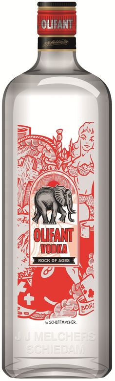 Olifant (Elephant) Vodka Schiffmacher. Be sure and look at the graphics closely on this vodka packaging PD