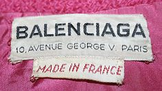 Vintage clothing label - Balenciaga, 1959-60 - with made in France tag - makes it even more special!