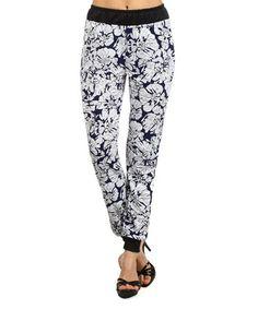 Look at this #zulilyfind! White & Navy Floral Jogger Pants #zulilyfinds