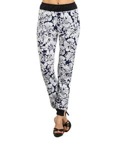 Look at this #zulilyfind! White & Navy Floral Jogger Pants #zulilyfinds