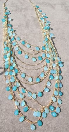 Long Multi-Strand Beaded Necklace in Shades of Aqua With Earrings