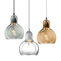 I love the grey and copper, clustered together as a semi-chandelier - Mouth-Blown Glass Modern Mini Pendant Light