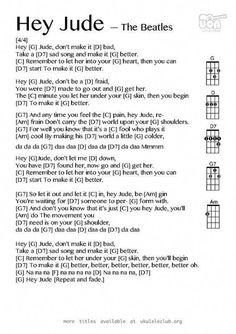Hey Jude Chords Hey Jude The Beatles Free Piano Sheet Music Piano Chords. Hey Jude Chords Sheet Music Digital Files To Print Licensed Pop Digital Sheet Music. Hey Jude Chords Hey Jude The Beatles Full Song With Chords Sheet. Ukulele Songs Beginner, Cool Ukulele, Guitar Chords For Songs, Uke Songs, Ukulele Tabs, Lyrics And Chords, Music Chords, Guitar Tips, Simple Ukulele Songs
