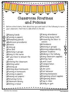 Class Routines--a list of 40 things to consider