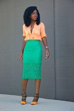 Women's Orange Button Down Blouse, Green Lace Pencil Skirt, Orange Leather Heeled Sandals Work Fashion, Fashion Outfits, Fashion Trends, Women's Fashion, Latest Fashion, Classy Outfits, Cute Outfits, Cuir Orange, Orange Leather