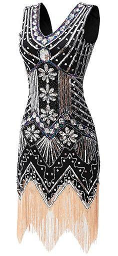 gastbypty Womens 1920's Gatsby Bead Sequin Art Nouveau Deco Flapper Dress(Black,X-Large)