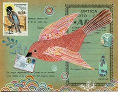 sounds like something that we could dig further into reused old paper have another layer for story mail art. Zullen we elkaar ook een keer in het echt Mail art sturen? Pocket Letter, Mail Art Envelopes, Fun Mail, Decorated Envelopes, Poster Art, Envelope Art, Illustrations, Bird Art, Medium Art