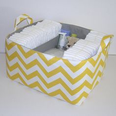 """XL Chevron Yellow White Slub Zig Zag Gray Fabric Organizer Bin Basket Diaper Caddy .. 14"""" x 12"""" x 8"""" .. Holds 50 Diapers"""