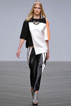 Jean-Pierre Braganza fall '13: boxy color-blocked top with sporty satin pants