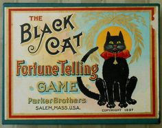 Vintage Halloween Game ~ The Black Cat Fortune Telling Game by Parker Brothers ©1897