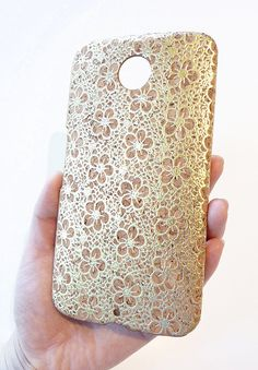 For Motorola Google Nexus 6 Antique Gold Flower Natural Wood Cork Phone Case Cover by Yunikuna