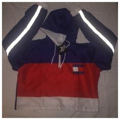Tommy Hilfiger inspired cropped windbreaker found on Polyvore featuring polyvore, women's fashion, clothing, activewear and activewear jackets