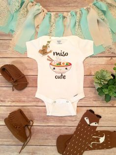 Miso Cute Onesie®, Baby Shower Gift, Unisex Baby Clothes, Baby Boy Clothes, Funny Onesies, Sushi Onesie, Cute Baby Onesies, Hipster Baby by BittyandBoho on Etsy https://www.etsy.com/listing/278236514/miso-cute-onesie-baby-shower-gift-unisex