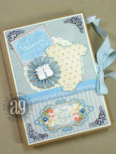 Graphic 45 Precious Memories Baby Mini Album. Lots of photos and close-ups of each page inside!  By Annette Green.
