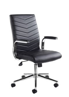 Martinez Leather Faced Executive Chair An executive soft leather faced office chair with panel stitched designed seat and back, chrome padded arms and a chrome base.  Tilt lock mechanism with weight tension control.  Optional glides are also supplied enabling this chair to be converted to a stylish boardroom chair.