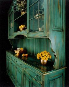 Distressed blue green hutch great for a country kitchen. I would love this for the living/dining area. This is GORGEOUS!