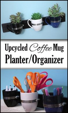 What can you do with extra coffee mugs?  Turn them into this adorable wall hanging.  Organize office supplies, toiletries, kitchen utensils.. or even turn into a planter for succulents or herbs.    Upcycled Coffee Cup Planter or Organizer via www.TheKimSixFix.com