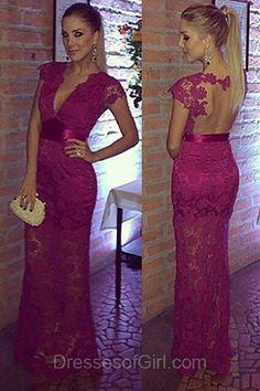 Deep V Neck Prom Dresses, Open Back Prom Dress, Sheath Evening Dresses, Long Party Dresses, Lace Formal Dresses