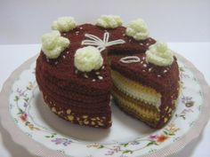 Cake Crochet Pattern Crochet Food Pattern PDF Instant Download Butter Cream Chocolate Cake (whole and sliced)    ******** PDF PATTERN ONLY ********