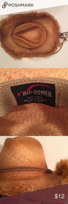 Bio-Domes Headgear Straw Hat Bio-Domes Headgear Straw Hat. With adjustable strap.bendable wire rim. Bio-Domes Accessories Hats