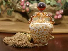 Antique Gold Hand Blown Glass Perfume Bottle