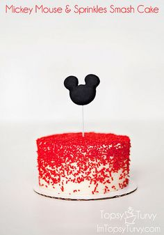mickey-mouse-sprinkles-smash-cake by imtopsyturvy.com, via Flickr Mickey Birthday Cakes, Mickey Mouse Smash Cakes, Mickey Party, Mickey Minnie Mouse, Mickey Mouse First Birthday, Mickey Mouse Torte, Mickey Cakes, Minnie Mouse Cake, Mickey Mouse Parties